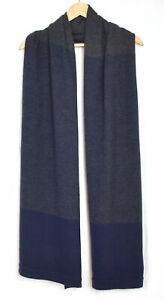 Womens-Lululemon-100-Merino-Wool-Blue-amp-Gray-Color-Block-Large-Scarf-OS