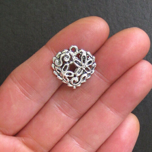 5 Heart Charms Antique Silver Tone with Great Floral Details SC241
