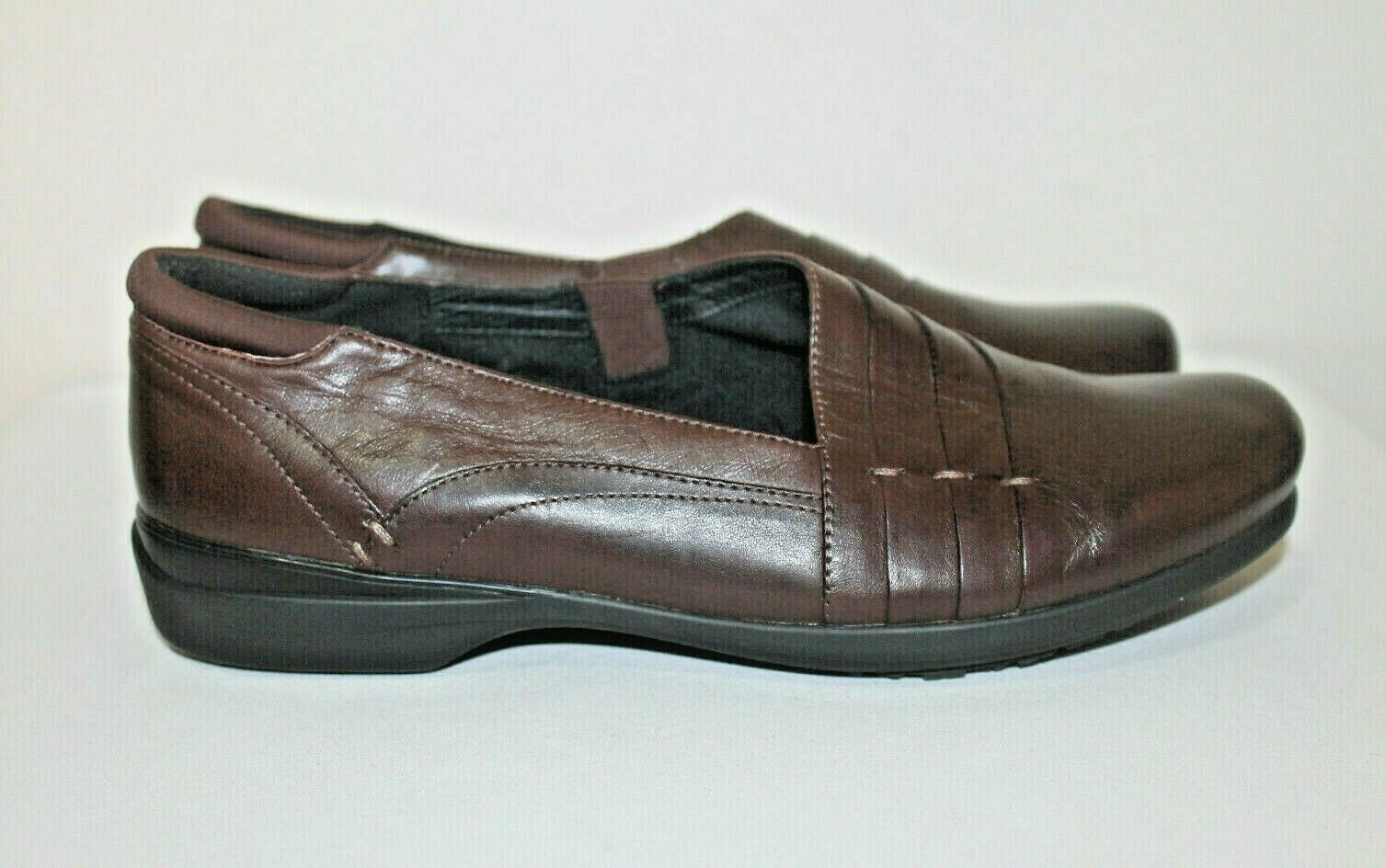 Abeo 24/7 Brown Leather Adele Women's Slip On Loafers Shoes Size 9~ No Insoles