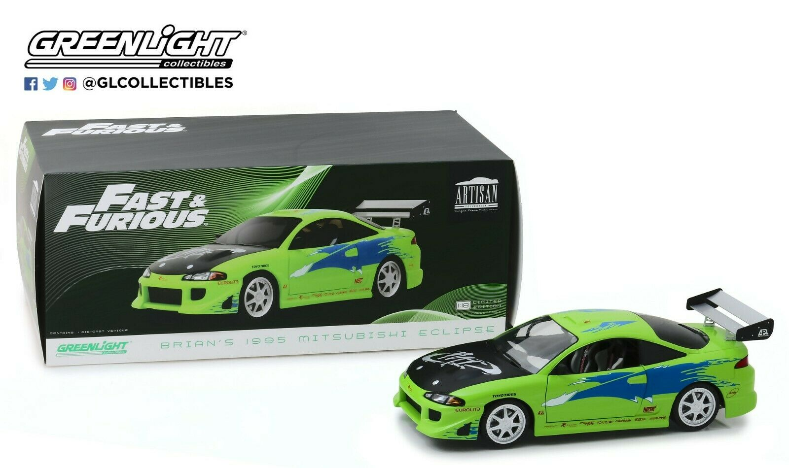 GreenLight 1 18 The Fast and the Furious (2001) - 1995 Mitsubishi Eclipse 19039