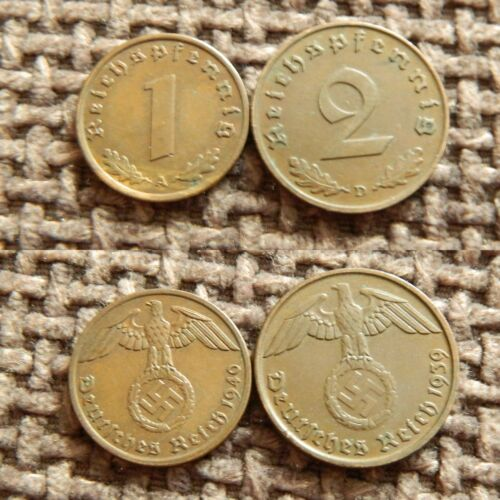 Lot of Germany coins 2 pfennig  with Swastika 1937-1940 1 17