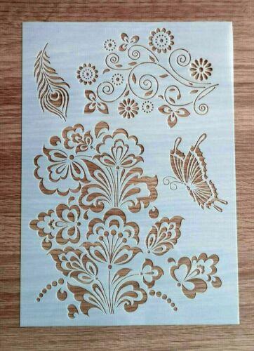 A4 Mariposas y Flores de la plantilla 310mm X 210mm