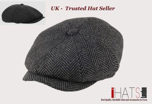 Mens Grey Herringbone Newsboy Hat Supreme Quality Tweet Cap iHATSLondon UK