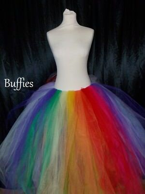 Long Tutu Multi colour Pastel Rainbow Festival Ladies tulle Skirt MLP inspired