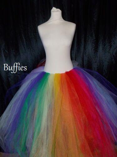 Long Tutu Black White pastel Rainbow Festival Maxi Ladies tulle Skirt 6-28