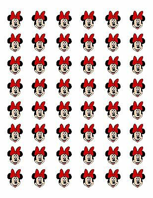 "48 MINNIE MOUSE FACE RED BOW  ENVELOPE SEALS LABELS STICKERS 1.2"" ROUND"