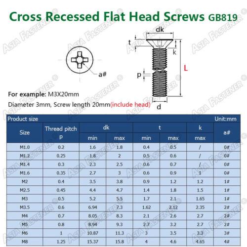 M2 M2.5 M3 304 Stainless Steel Phillips Cross Countersunk Head Screws Bolt GB819