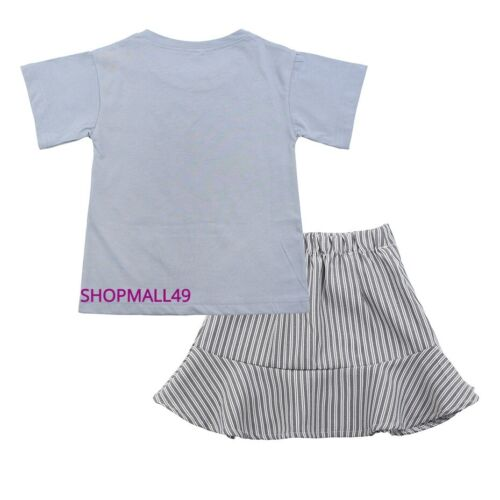Girls Summer set Top and Skirt Tshirt Short sleeve 2 pcs Outfit Age 3-11 years