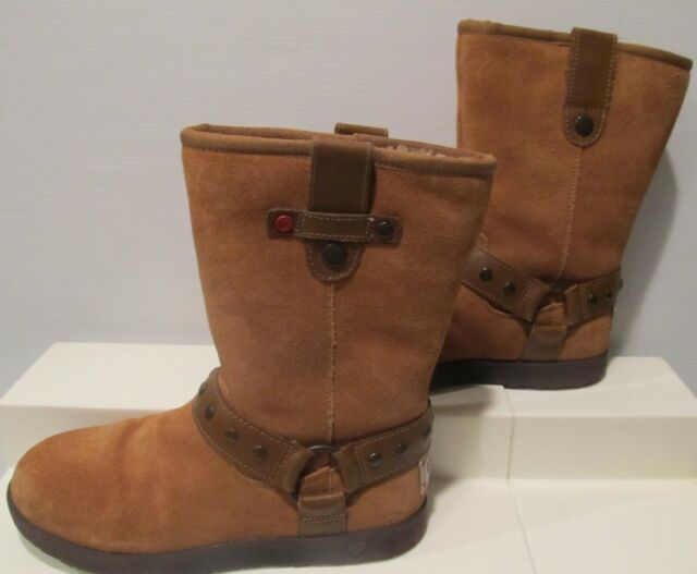 Girls Genuine Ugg Australia J I Heart Moto Short Boots Hazelnut Size 3 Leather