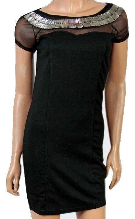"""""""chickster"""" Femmes Sans Manches Noir Parti Moulante Mini Robe-tailles - 8/10/12"""