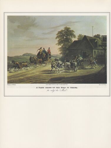 """1974 Vintage COACHING /""""FALSE ALARM ON THE ROAD TO GRETNA/"""" MAIL Art Lithograph"""