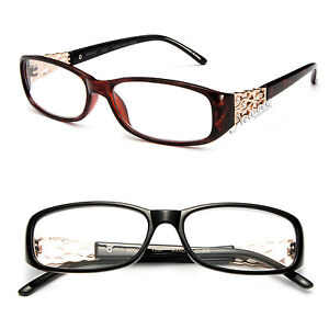 Women Fashion Clear Lens Glasses Metal Plastic Rectangular ...