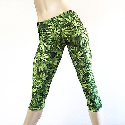 marijuana capri pant cannabis leaf print pant hot yoga
