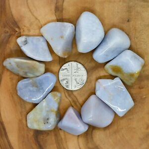 11-x-Blue-Chalcedony-Tumblestones-Crystals-35g-Wholesale-Therapists-Healers