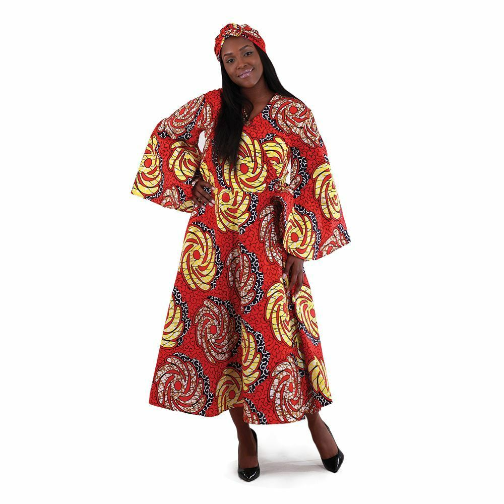 African Woherren Traditional Print Wrap Dress (rot )