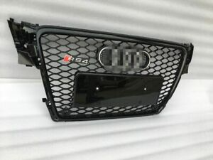 RS4-Style-Grill-Glossy-Black-Grille-Chrome-Rings-For-09-10-11-12-Audi-A4-B8-S4
