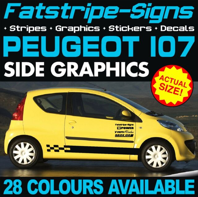 PEUGEOT 107 GRAPHICS STRIPES DECALS STICKERS VINYL GTI PUG 1.0 1.4 CITY CAR