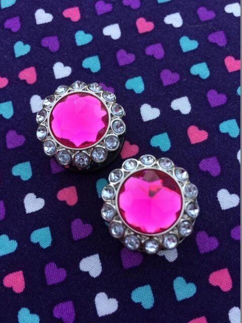 Pink Rhinestone Bling Plugs / Gauges- 12mm-25mm (Sold as Pair)...Punk/Formal