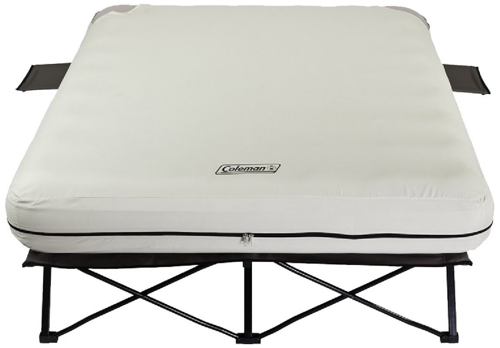 Coleman Queen Airbed Folding Cot with Side Tables and 4D Battery Pump, camping