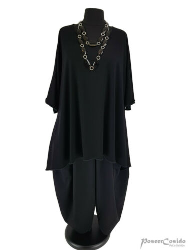 Poco Lagenlook Big over-size Tunica Long-shirt XXL-XXXL 56 58 60 62 64 Nero