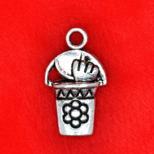6 x Tibetan Silver Bucket /& Spade Gardening Charm Pendant Finding Beading Making