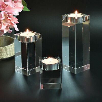 Crystal Vases Tea Light Candles Holder Tabletop Stand Wedding
