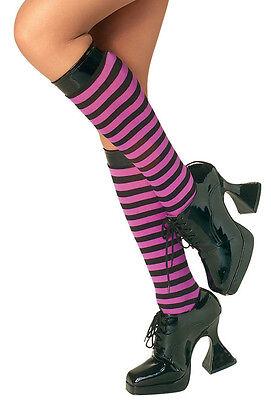 Purple and Black Striped Knee High Stockings