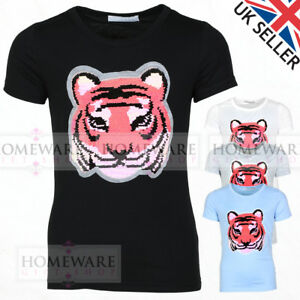 870c44d45 KIDS SEQUIN T-SHIRT REVERSIBLE TIGER T-SHIRT COTTON BLEND GIRLS BOYS ...