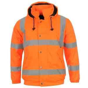 Dunlop-Mens-Hi-Vis-Bomber-Jacket-Workwear-Coat-Top-Water-Resistant-Hooded-Zip