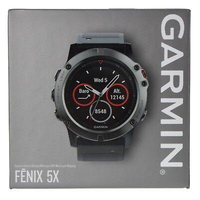 Garmin Fenix 5X Sapphire GPS Watch Mapping Wrist HR - Slate Gray TOPO US Maps