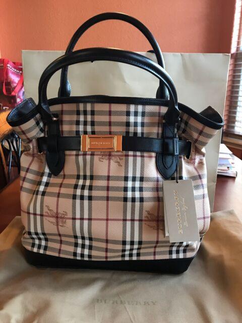 686400242eca NWT Burberry Bag 100% Authentic Black Leather Medium Haymarket Golderton  Tote