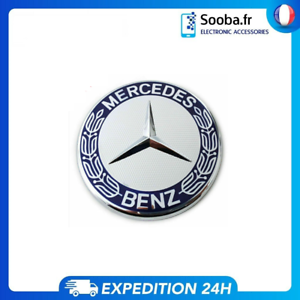 Logo-Capot-Mercedes-Benz-GRIS-BLEU-57mm-Embleme-Insigne-Remplacement