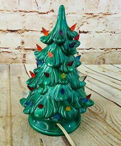 "vtg ceramic Christmas tree light up Holland Mold decoration 9"""