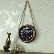 Orologio da parete in rame retrobrushed Corda Hanger SHABBY CHIC VINTAGE Regalo Casa