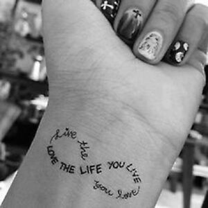 Temporary Tattoo Black Love The Life You Live Live The Life You Love