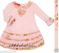 NWT Authentic Kate Mack Girls Toddler Rose Leopard Cotton Ruffle Dresses 24M-3Y