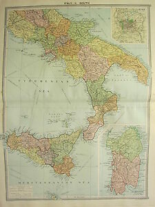 1920 LARGE MAP ITALY SOUTH ROME ENVIRONS SARDINIA SICILY MOLISE