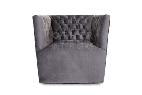 Dimitri Swivel Chair Deep Grey Velvet Armchair Premium Quality Deco Inspired