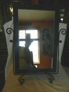 Vintage-Tabletop-Adjustable-Vanity-Mirror-Black-Metal-Antique-Patina