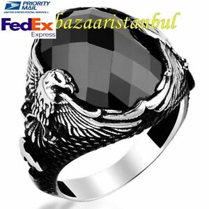 Turkish-925-Sterling-Silver-Eagle-Black-Onyx-Stone-Mens-man-ring-us-ALL-S-ZE