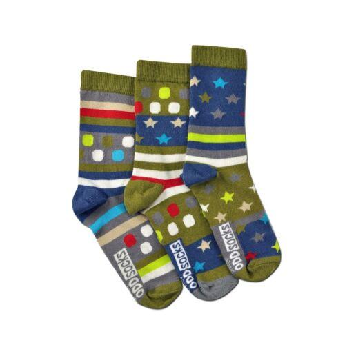 United Oddsocks Fly Trio mal assortis vert étoiles taches rayures UK 12-6 garçon chaussettes