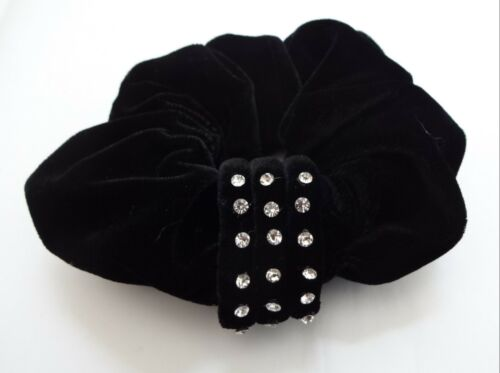 Black Velvet Scrunchie Rhinestone Accents Stretch One Twister Ponytail Holder