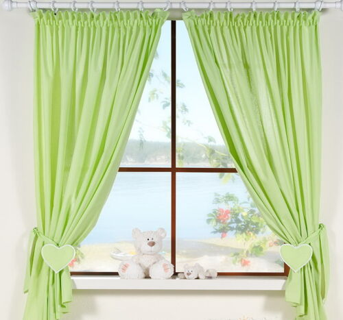 Baby Nursery  Window Curtains //Pencil Pleat tiebacks//Slot Top