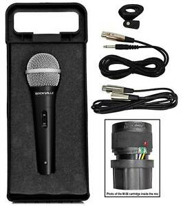Rockville-RMC-XLR-High-End-Metal-DJ-Handheld-Wired-Microphone-Mic-w-2-Cables