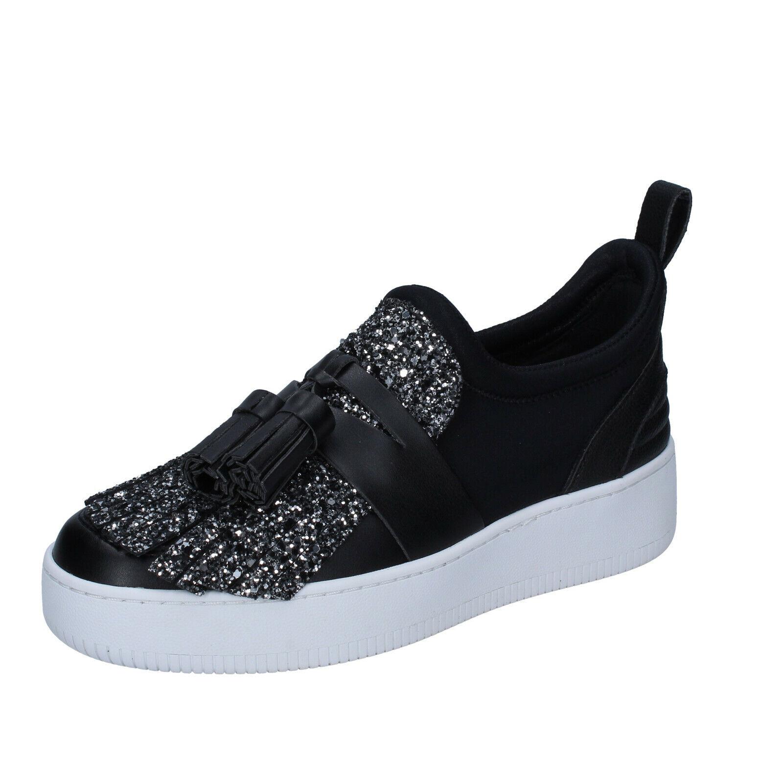 Womens shoes MY GREY MER 5 (EU 38) moccasins silver black glitter BS626-38