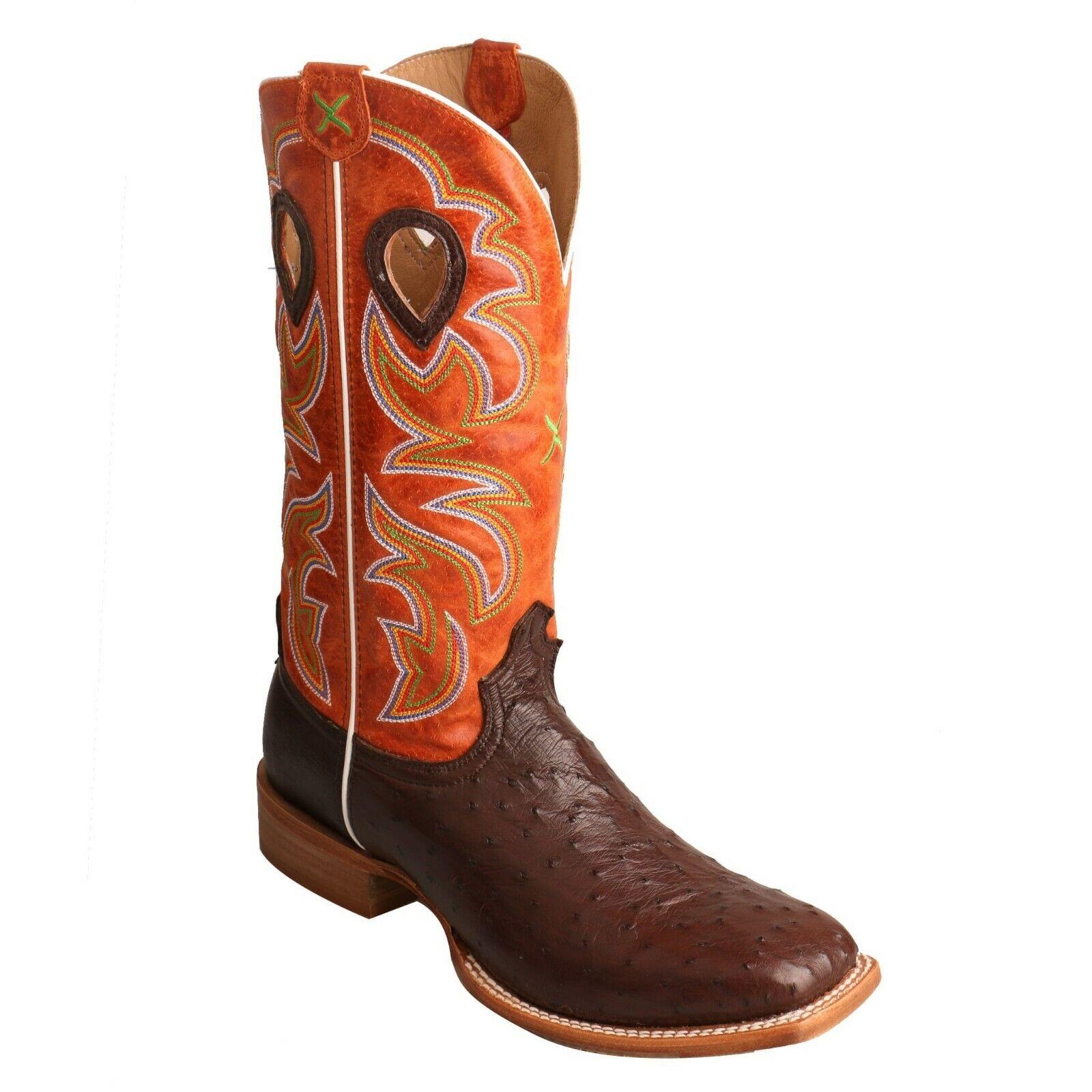 Twisted X Men's Brown & orange Square Toe Ruff Stock Boots MRSL036