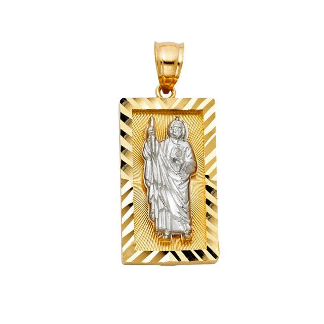 14K Yellow White Gold Religious St Jude Saint Juda Rectangle Small Pendant Charm