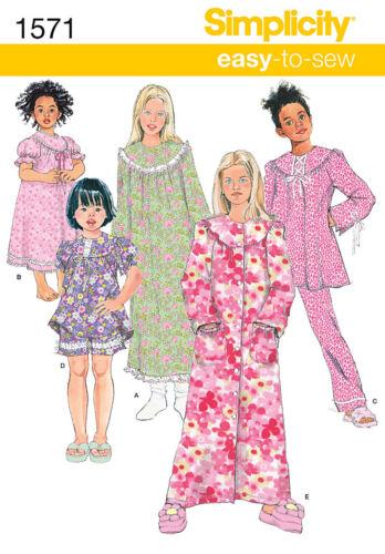 SIZES CHILD 3-6 OR GIRL 7~14 MAKE NIGHTGOWN~NIGHTIE~PAJAMAS~PJS SEWING PATTERN