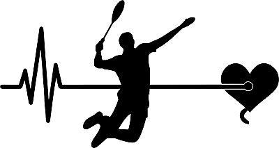 Autoaufkleber Badminton 032 Federball Aufkleber Sticker Herzschlag Puls Lovely Luster Weitere Ballsportarten