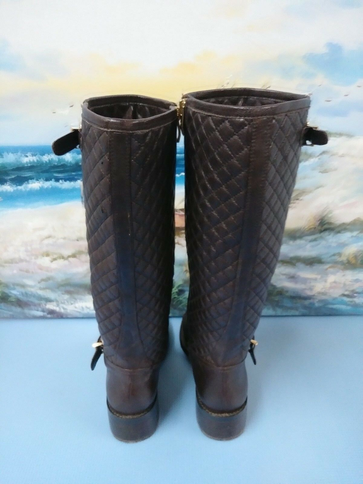 Vince Camuto Tall Dark Brown Leather Side Side Side Zip Harness Boots Women's Size 7 M 958af5